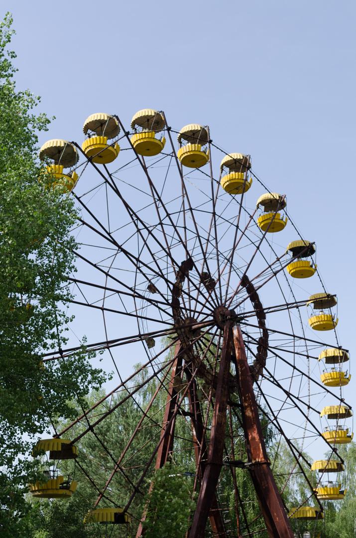 The ferris wheel isn't running.