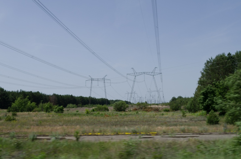 High tension wires - I guess there's a power station around here?